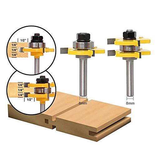 APLUS 2 teilig Groove und Tongue Zunge und Nut Set Router Bit Set Oberfräser Holzbearbeitung Fräsen Holzschneider Werkzeug für Graviermaschine Trimmmaschine (Ø = 8mm)