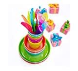 Ikea 36 Pcs Kalas Kids Plastic BPA Free Flatware, Bowl, Plate, Tumbler Set, Colorful