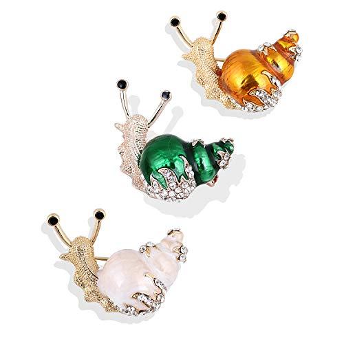 Schnecken Brosche,Legierung Eingelegte Brosche,Schöne Glänzende Brosche,Mode Einfachen Schmuck,Unisex-Mode-Accessoires Mit Einer Schönen Box(3Pcs,Gold + White + Green) -