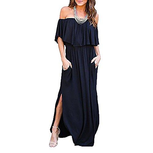6a471b98cdf0 Donna Vestiti Senza Spalline Elegante Spalla di Parola Moda Vestito Taglie  Forti Incinte Cerimonia Abito Spacchi