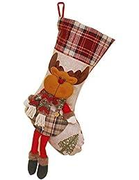 Weimay 1PCS Decoraciones de Navidad de Calcetines de Caramelo Decoración de Muñeco de nieve de Santa