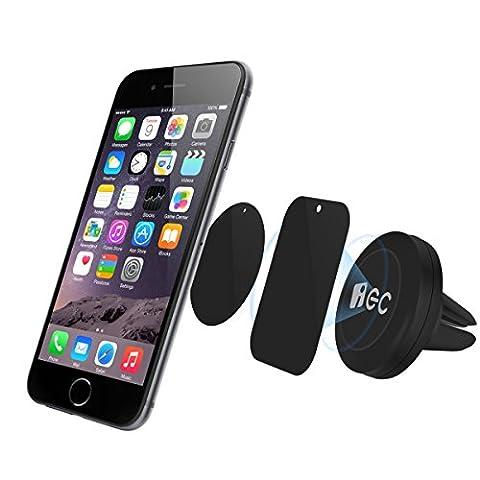 Support téléphone voiture EC Technology Support magnétique Universel sur aération et Kit de fixation Support Auto compatible pour iPhone, Samsung, LG, Huawei, wiko et les autres smartphones, GPS