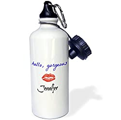 3dRose wb_200605_1 Hello Gorgeous Jennifer Picture of Lips Sports Water Bottle, 21 oz, White