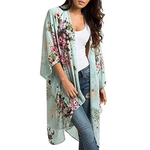Damen Leichte Chiffon Cardigan Blumenmuster Kimono Lang Asymmetrisch Sonnencreme 3/4 Ärmel Strickjacke Oversized Strand Bikini Cover-up Casual Shawl Oberteile von LEEDY -