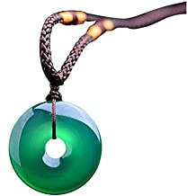 Natural Jade verde botón de la Paz colgantes Ágata Mujeres Mens cuerda collar
