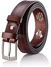 BeComfy Cinturón de cuero para hombres - 35 mm de ancho - Marrón Negro liso  - d96dd086e94d