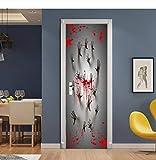 MVBGLK 3D Halloween Wall Decal Hand & Blood Self-Adhesive Door Diy Mural Art Poster Doors Waterproof Wallpaper Stickers Decoration-77x200cm