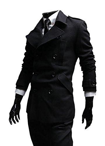 Herren Seemannsjacke Zweireiher Mantel Wolle Mischung Pea Coat Kurz Tweed Jacke Dufflecoat Cabanjacke (Jacke Mantel Mischung Wolle)