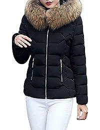 Femme Doudoune Automne Hiver Uni Manche À Capuchon Fashion Vintage Costume  Loisir Chaud Manteau Hiver Manches Longues avec Fermeture… 90ab201d4464