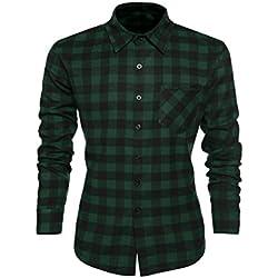 Coofandy Camisa para Caballero Long Sleeve Cuello Clásico de Moda Verde Talla S