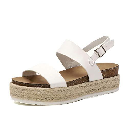 Sandalen Damen Plateau Espadrille Sommer Keilabsatz Leder 5 cm Absatz Sandaletten Peep Toe Flach Sommerschuhe Bequeme Weiß 43