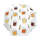 SUHETI Ombrello Portatile,Fondo senza cuciture del modello di vettore del grano della birra,Ombrello Pieghevole Automatico Antivento
