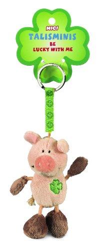 Nici 33688 - Schwein Beanbag Schlüsselanhänger Talismin 7 cm, rosa-braun (Glücksbringer Schlüsselanhänger)