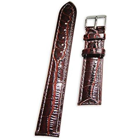 In eco-pelle cinturino in pelle Enez L: 18 mm orologio di ricambio cinturino marrone T136