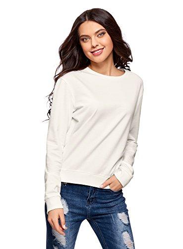 oodji Ultra Damen Baumwoll-Sweatshirt Basic, Weiß, DE 36 / EU 38 / S
