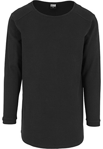 Urban Classics Shaped Waffle Long Sleeve Tee - Maglia a Maniche Lunghe Hombre, Negro (Schwarz), Large (Talla del Fabricante: Large)