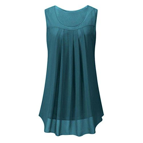 73de3bba88f625 OverDose Damen Sommer Ärmellos O-Ausschnitt Casual Chiffon Solide Weste  Bluse Tank Tops Camis Frauen T Shirt Tees (EU-44/CN-M, Green)