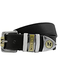 Milano Gents Designer Faux Leather Belt - Black-Brand New with Tags