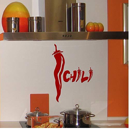 Qqasd Chili Chili Pepper Wall Decal Aufkleber Chili Spice Aufkleber Küche wasserdicht Vinyl Dekor Abziehbilder 20.8x43cm -