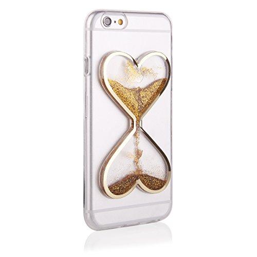 Ego® 3d Liquid Case per iPhone cover lucido liquido Bling Glitter Glitter cuore broccato clessidra oro gold für iPhone 7 gold