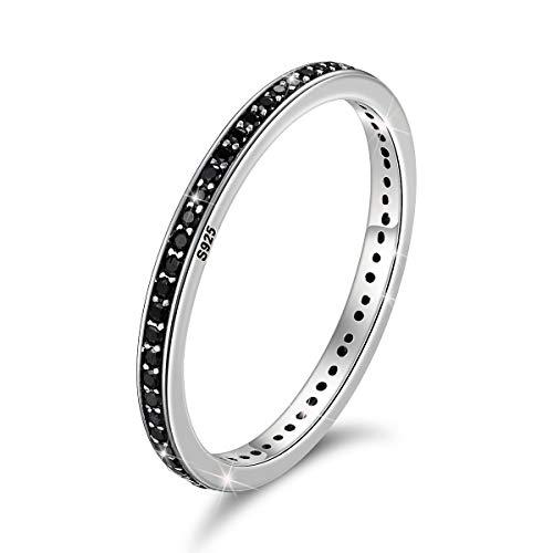 Anello Eternity a fascia sottile da 2 mm, in argento Sterling 925 con zirconia cubica nera, anelli di fidanzamento o anniversario di matrimonio, anelli impilabili da donna e Argento, 16 1/2, cod