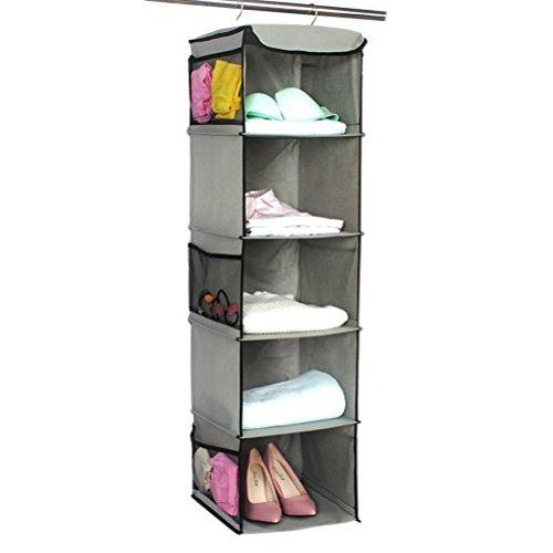 TZSUNRISE Aufhängung Aufbewahrungstasche für Kleidung, Organizer, Garderobe hängende Aufbewahrung mit 5/10Regalen, Pullover, Taschen, Schuhe, BH, Socken, 5 Shelves