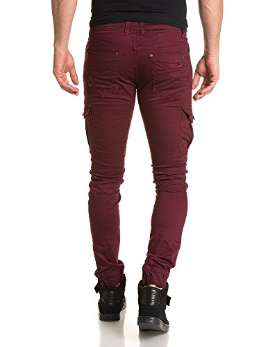 Gov Denim - Pantalon street slim bordeau nervuré pour homme Rouge