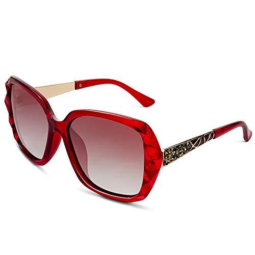 GQUEEN Oversized Polarisierte Sonnenbrille Frauen Outdoor Mode UV400 Brille MOE6