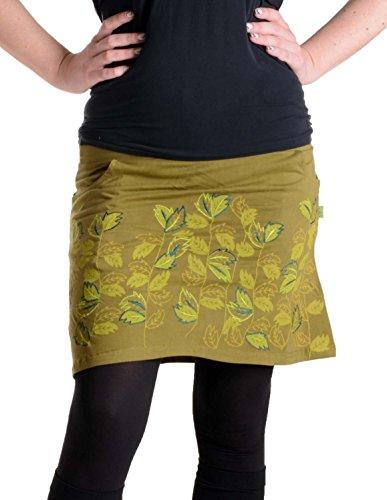 Vishes – Alternative Bekleidung – Baumwollrock mit 2 Taschen – bedruckt und bestickt olivegrün 34 (Rock Hippie Bestickt)