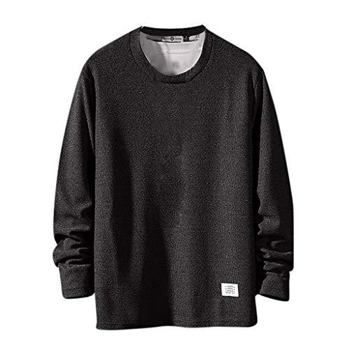 Xmiral Sweatshirts Herren Einfarbig Herbst Mode Langarmpullover mit Rundhals Patchwork Tops Sportbekleidung Große Mode Hemd(Schwarz,L)