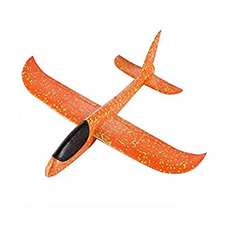 Sobotoo Foam Airplane Toy, LED Light Throwing Glider Planes Airplane Model Plane Toy for Kids Children Boys Girls (Orange)