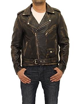 cl‡sica chaqueta de cuero estilo de Brando motorista amueblada masculino