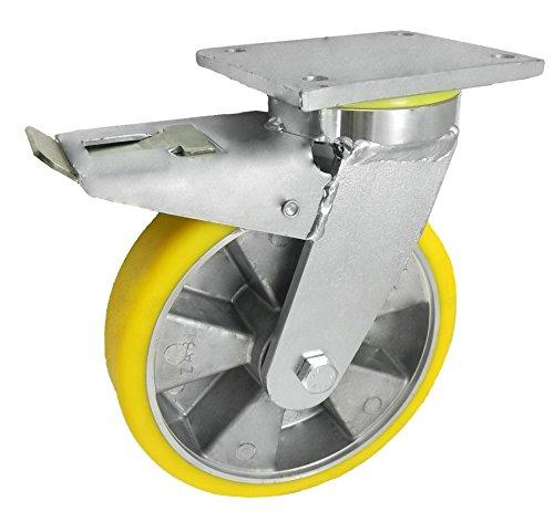 Zabi Schwerlasträder aus Aluminium und Polyurethan d=200mm in kippbaren Gehäusen mit Bremse