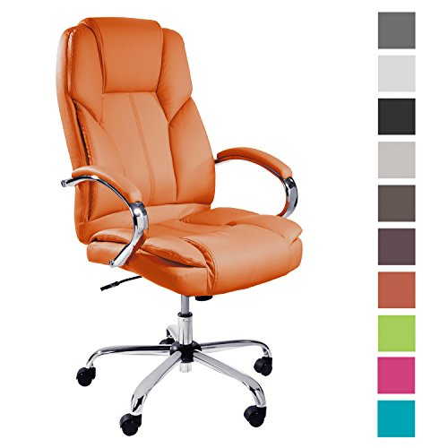 TPFLiving XXL Bürostuhl Chefsessel Dallas Orange Belastbar bis 215kg Kunstleder