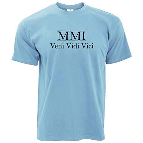 MMI Veni Vidi Vici Geburtsjahr 2001 16. Geburtstags-Geschenk-Geschenk-Andenken In der römischen Zahlen aus Herren T-Shirt Sky Blue