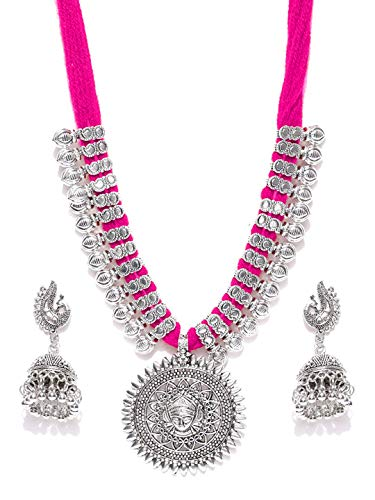 Youbella Antique German Silver Oxidised Plated Tribal Cotton Thread Jewellery Set For Women & Girls (Pink)
