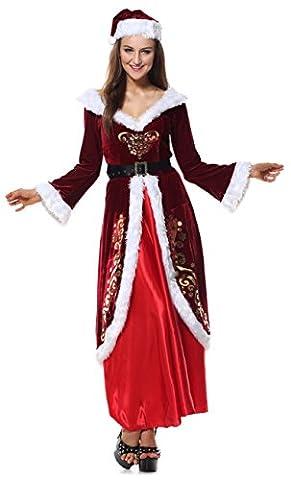 Kimring Women's Adult Elegant Mrs Santa Claus Christmas Costume Dress Red (Plus Size Di Santa Suit)