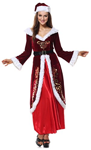 Kimring Women's Adult Elegant Mrs Santa Claus Costume Christmas Dress Red (Mrs Santa Claus Outfit)