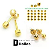 DALLAS 12 Pairs (24 Pieces) Ear Piercing Studs 316L Surgical Steel Sterile (Medical Class Stainless Steel) for Ear Piercing G