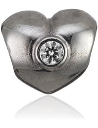 Pandora Damen-Bead  Sterling-Silber 925 Herz mit Zirkonia weiss KASI 79134CZ