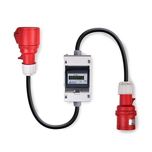 Swissnox Digital Stromzähler Zwischenstecker Box 400V / 32A CEE-Stecker Und Kupplung. Wattmeter Energiezähler Zwischenzähler Starkstromzähler IP55 Gehäuse. Made in Germany