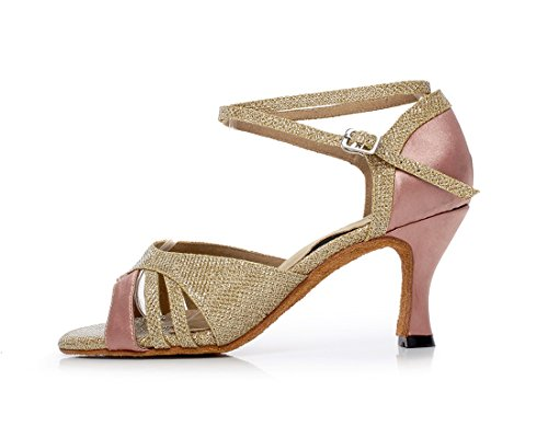 Minitoo da donna color block Flared tallone raso Salsa Scarpe da ballo Gold