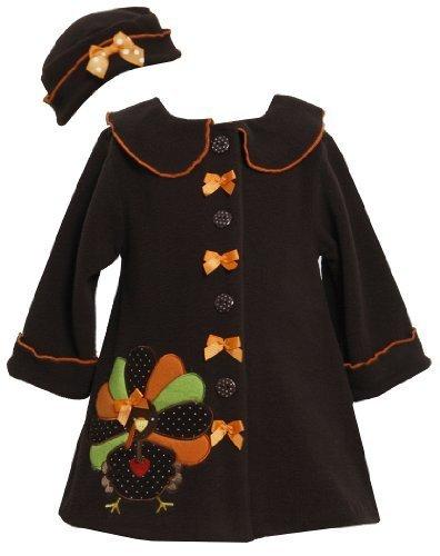 Bonnie Jean Baby-Girls Thanksgiving Turkey Dress Coat Hat 3/6M (BJ B00675)