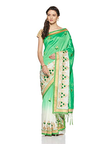 Aalia Art Silk Saree With Blouse Piece (11014!_Green, Cream!_One size)