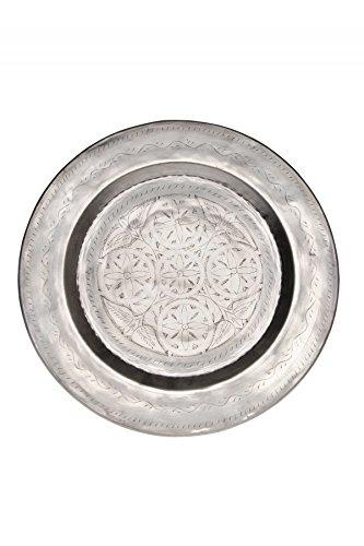 Orientalisches rundes Tablett aus Metall Kamil 48cm | Marokkanisches Teetablett in der Farbe Silber | Orient Silbertablett silberfarbig | Orientalische Dekoration auf dem gedeckten Tisch -