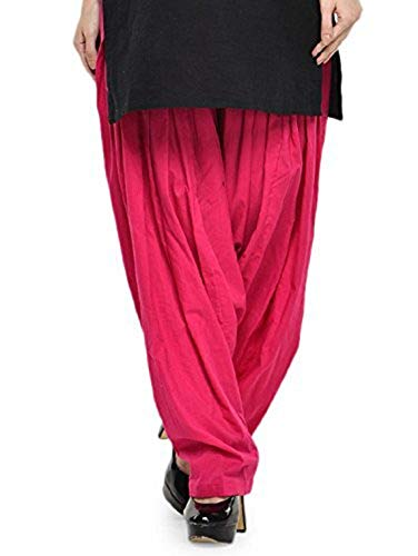 SBM Women\'s plain pink Cotton Comfort Punjabi Patiala Salwar Bottom Pants Semi-Patiala Salwar for traditional look(available in all colours and sizes)