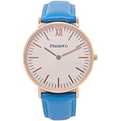 Prempco - Nobel - Ladies Watch - Ivory White - Rose Gold - Quick Change Watch Wrist Band in Blue