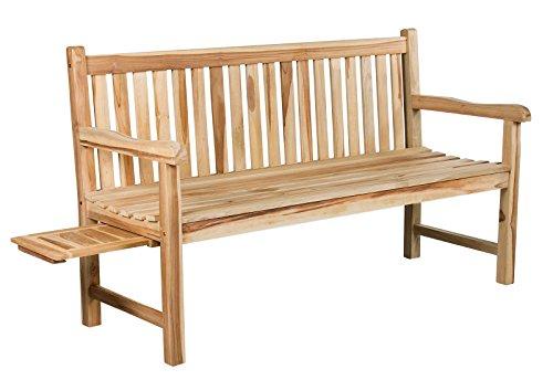 massive stabile 3er Teakbank 3-Sitzer 150 cm schlicht und robust Sitzbank Gartenbank inkl. Tablett