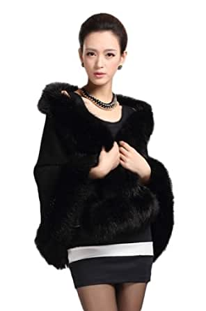Queenshiny Long Women's Knitted Woolen Sweater Poncho,stole,cape with Fox fur Collar-black