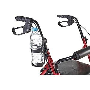 Eurosell – Premium Becher / Flaschen Getränke Halter Halterung für Rollator / Rollstuhl / Kinderwagen / Fahrrad / Gehwagen / Gehhilfe / Fahrrad